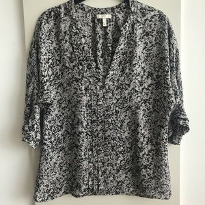 JOIE Size Small Silk Black white Floral Blouse top